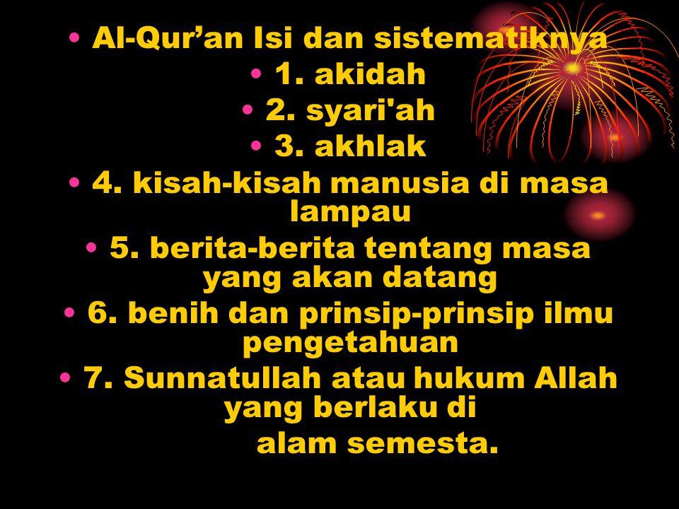 Al-Qur'an Isi dan sistematiknya 1. akidah 2. syari ah 3. akhlak