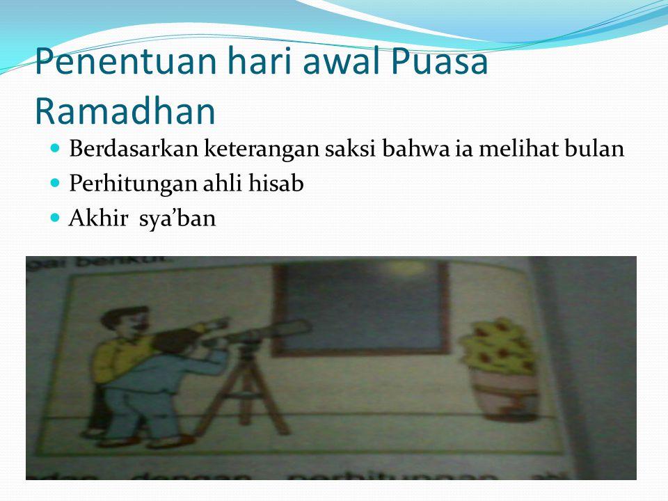Penentuan hari awal Puasa Ramadhan