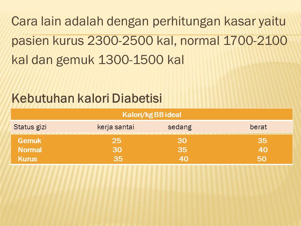 Cara lain adalah dengan perhitungan kasar yaitu pasien kurus 2300-2500 kal, normal 1700-2100 kal dan gemuk 1300-1500 kal Kebutuhan kalori Diabetisi