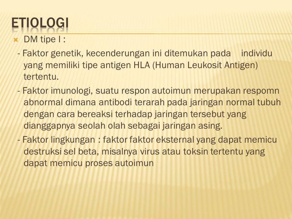 Etiologi DM tipe I :