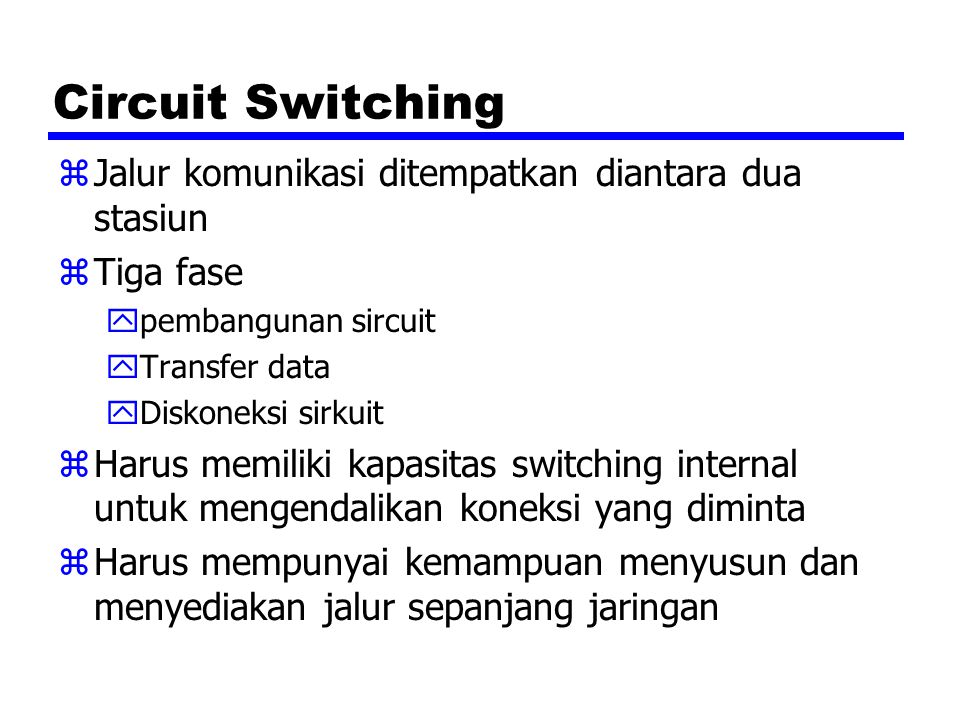 Circuit Switching Jalur komunikasi ditempatkan diantara dua stasiun