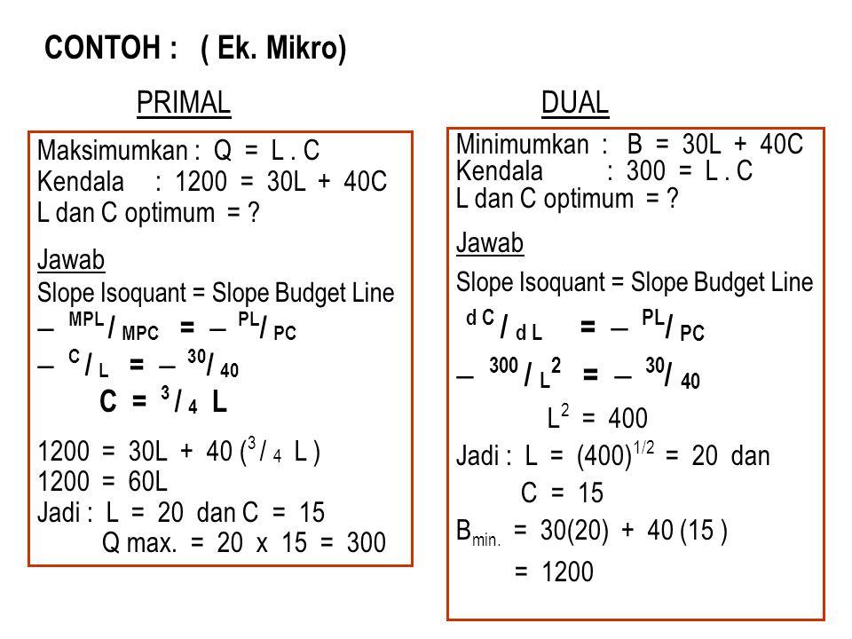 CONTOH : ( Ek. Mikro) d C / d L =  PL/ PC  300 / L2 =  30/ 40