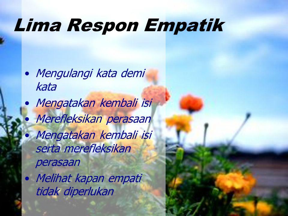 Lima Respon Empatik Mengulangi kata demi kata Mengatakan kembali isi