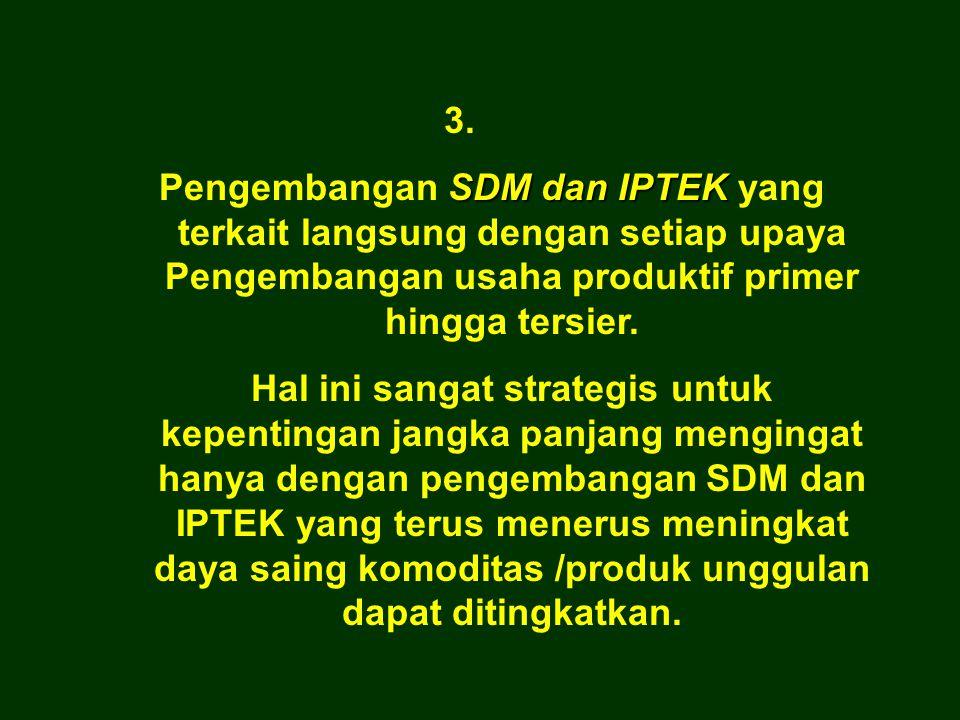 3. Pengembangan SDM dan IPTEK yang terkait langsung dengan setiap upaya Pengembangan usaha produktif primer hingga tersier.