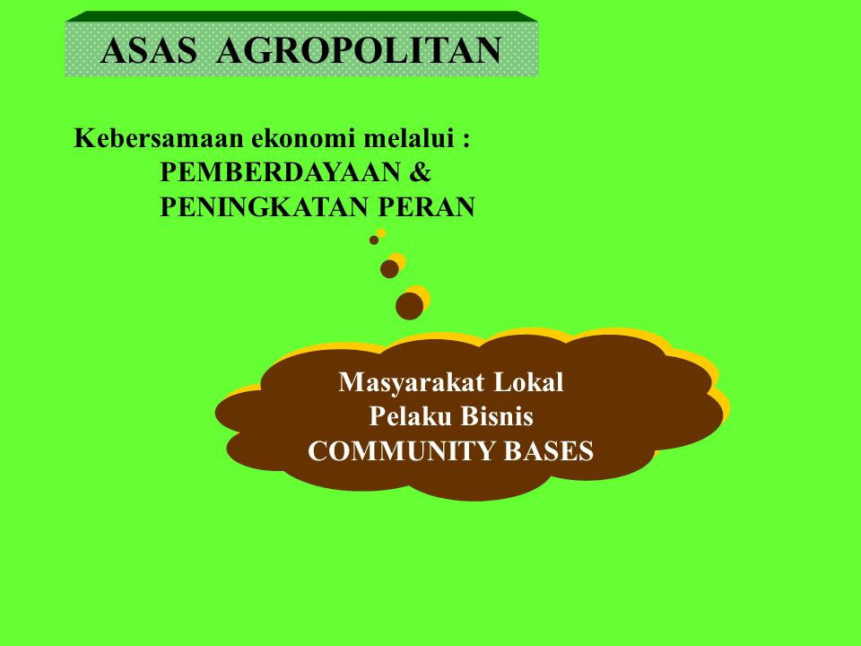 ASAS AGROPOLITAN Kebersamaan ekonomi melalui : PEMBERDAYAAN &