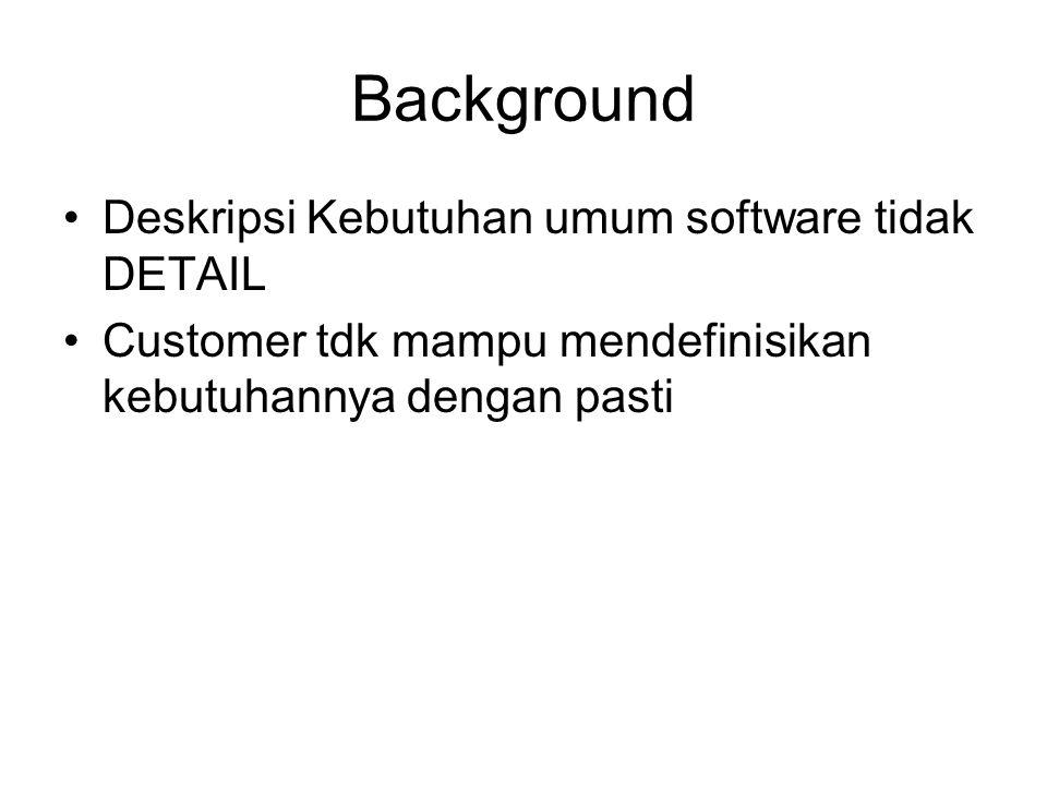 Background Deskripsi Kebutuhan umum software tidak DETAIL