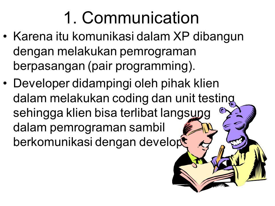 1. Communication Karena itu komunikasi dalam XP dibangun dengan melakukan pemrograman berpasangan (pair programming).
