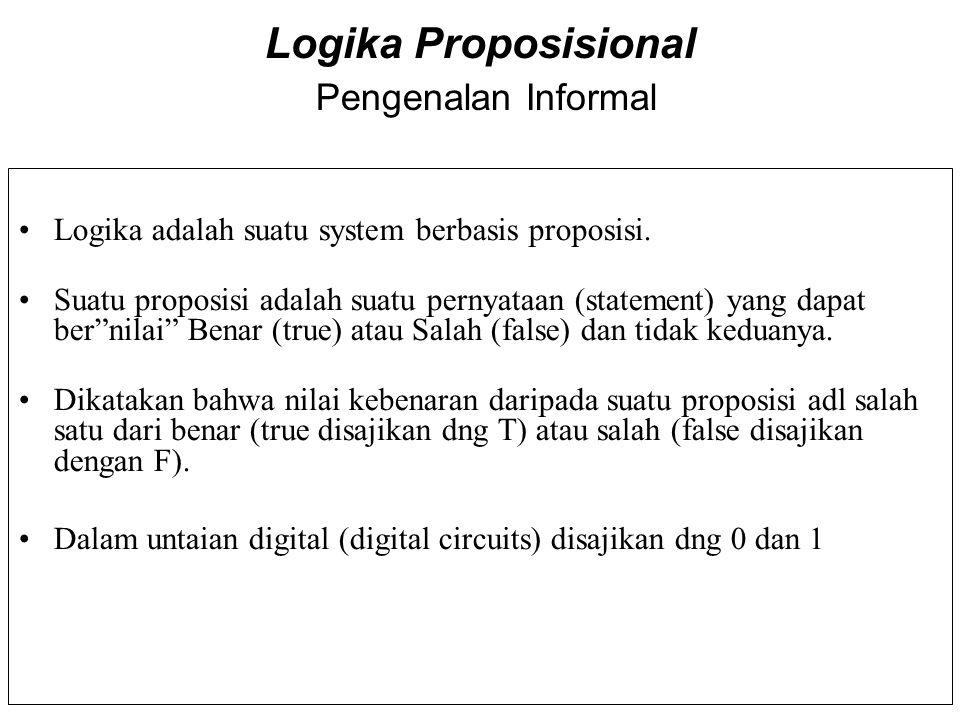 Logika Proposisional Pengenalan Informal