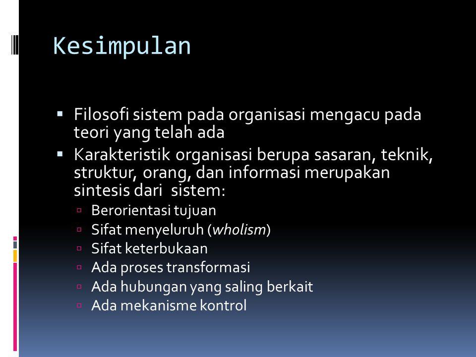 Kesimpulan Filosofi sistem pada organisasi mengacu pada teori yang telah ada.