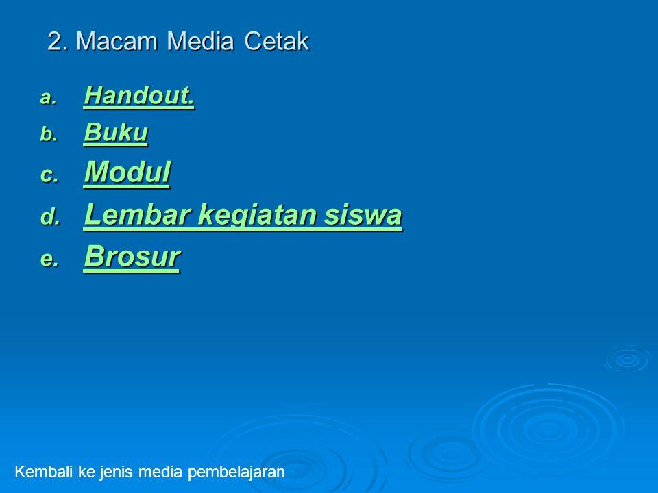Modul Lembar kegiatan siswa Brosur 2. Macam Media Cetak Handout. Buku