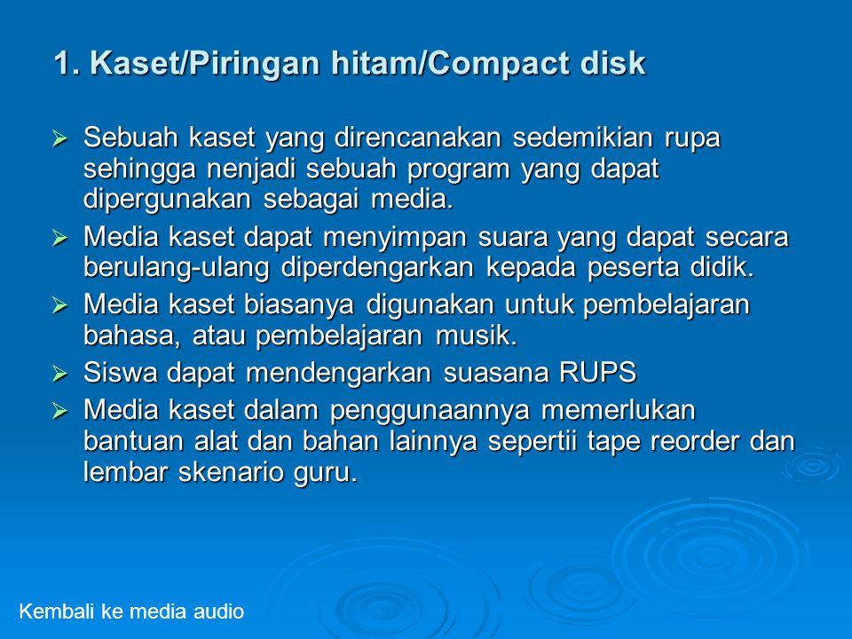 1. Kaset/Piringan hitam/Compact disk