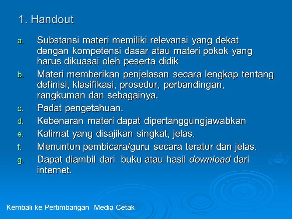 1. Handout Substansi materi memiliki relevansi yang dekat dengan kompetensi dasar atau materi pokok yang harus dikuasai oleh peserta didik.
