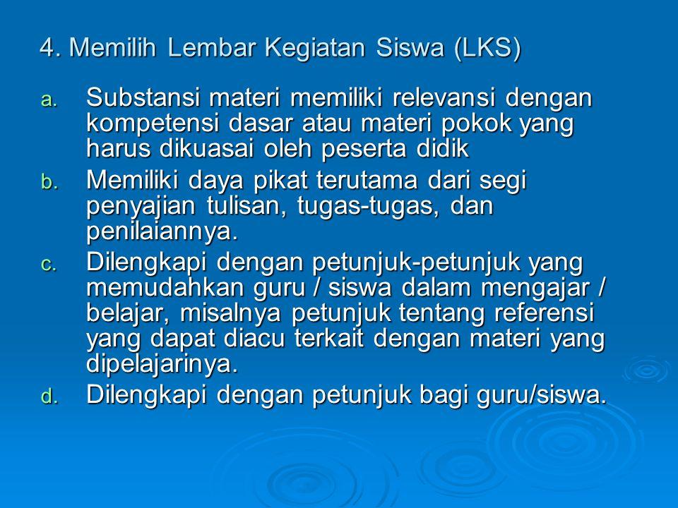4. Memilih Lembar Kegiatan Siswa (LKS)