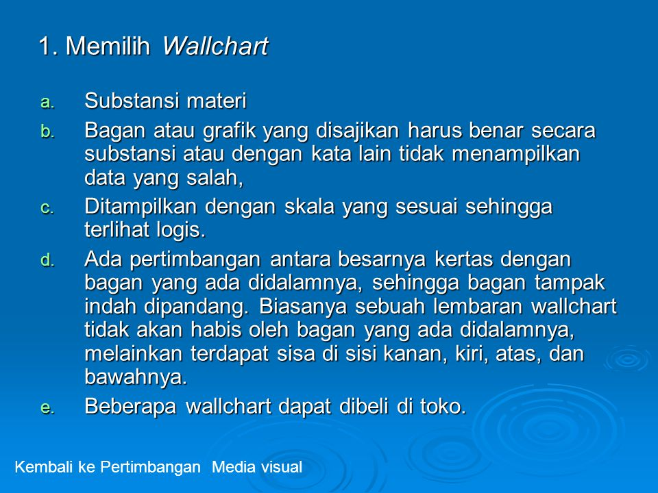 1. Memilih Wallchart Substansi materi