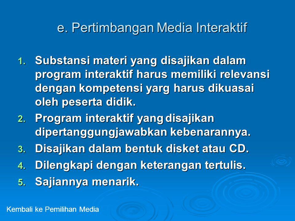 e. Pertimbangan Media Interaktif