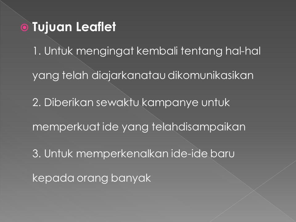 Tujuan Leaflet 1. Untuk mengingat kembali tentang hal-hal yang telah diajarkanatau dikomunikasikan.