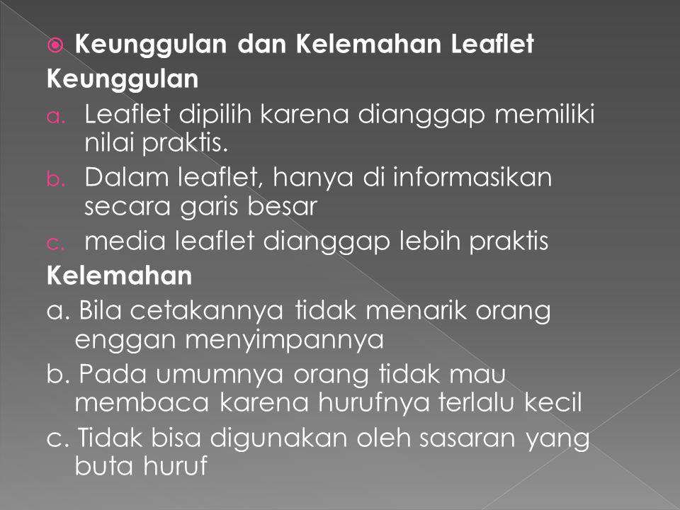 Keunggulan dan Kelemahan Leaflet