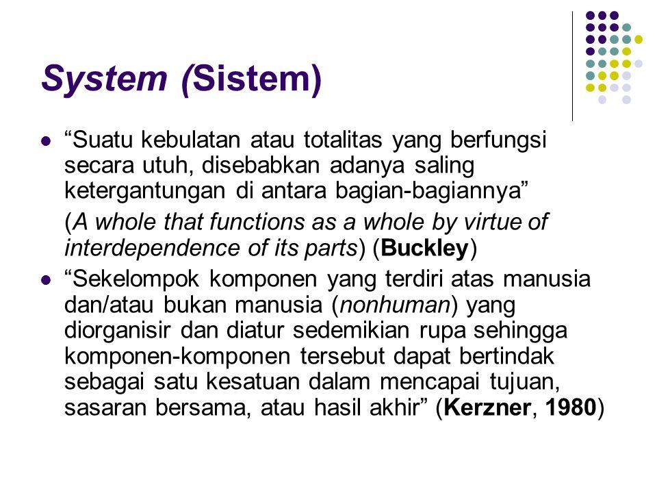 System (Sistem) Suatu kebulatan atau totalitas yang berfungsi secara utuh, disebabkan adanya saling ketergantungan di antara bagian-bagiannya