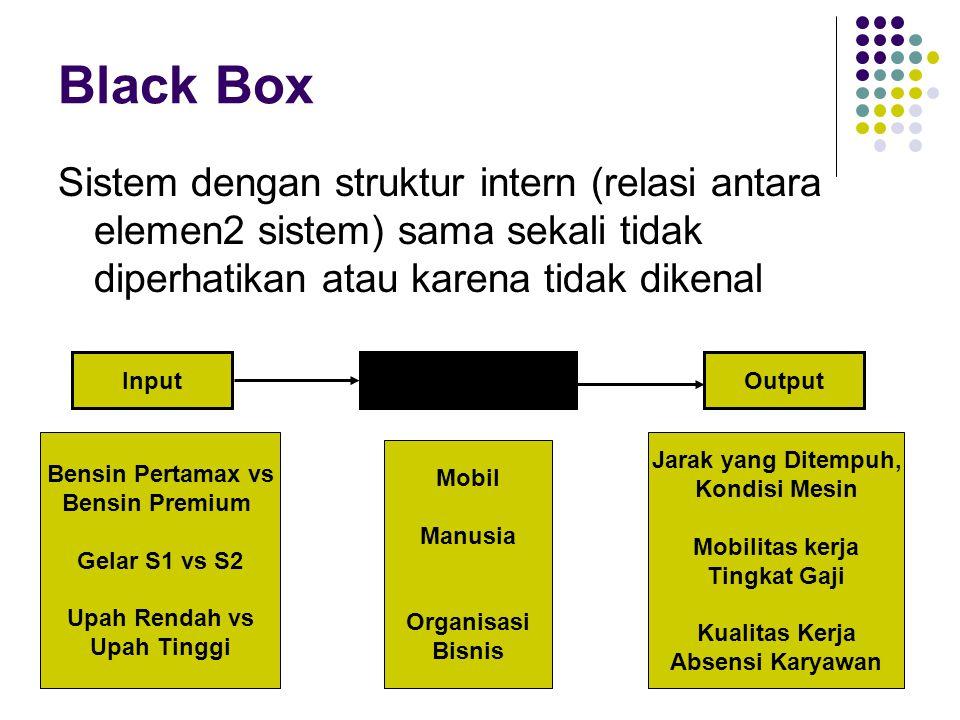 Black Box Sistem dengan struktur intern (relasi antara elemen2 sistem) sama sekali tidak diperhatikan atau karena tidak dikenal.