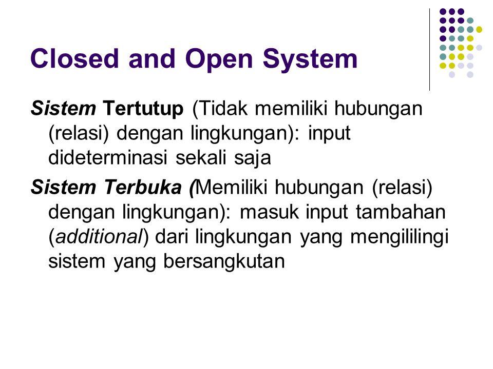Closed and Open System Sistem Tertutup (Tidak memiliki hubungan (relasi) dengan lingkungan): input dideterminasi sekali saja.