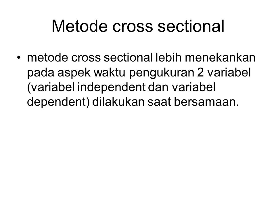 Metode cross sectional