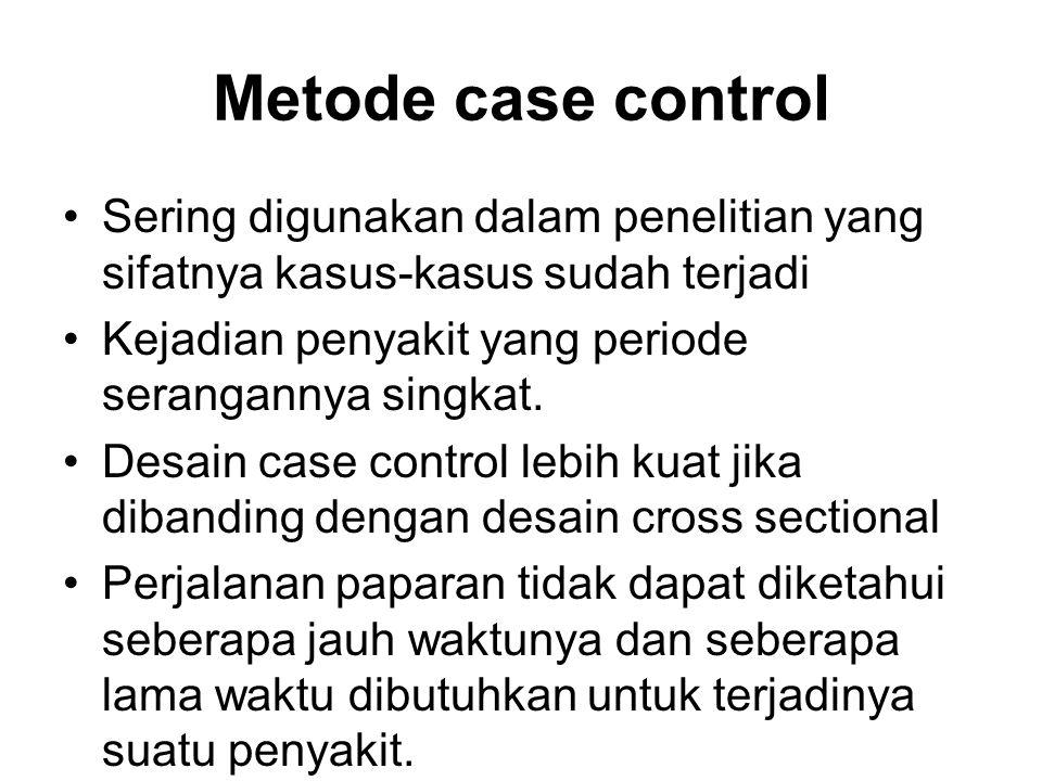 Metode case control Sering digunakan dalam penelitian yang sifatnya kasus-kasus sudah terjadi. Kejadian penyakit yang periode serangannya singkat.