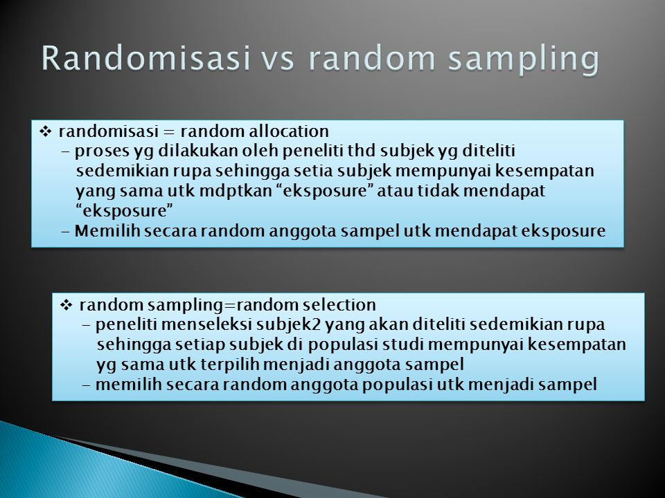 Randomisasi vs random sampling