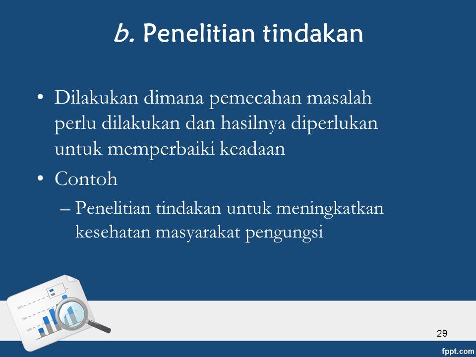 b. Penelitian tindakan