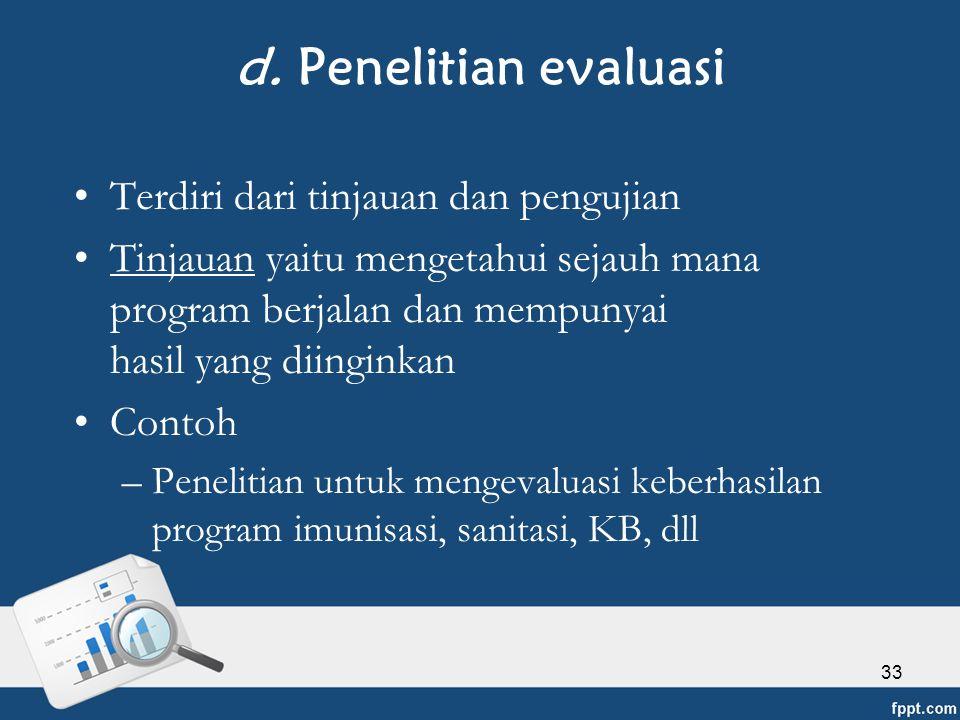d. Penelitian evaluasi Terdiri dari tinjauan dan pengujian