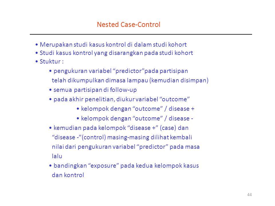 Nested Case-Control Merupakan studi kasus kontrol di dalam studi kohort. Studi kasus kontrol yang disarangkan pada studi kohort.
