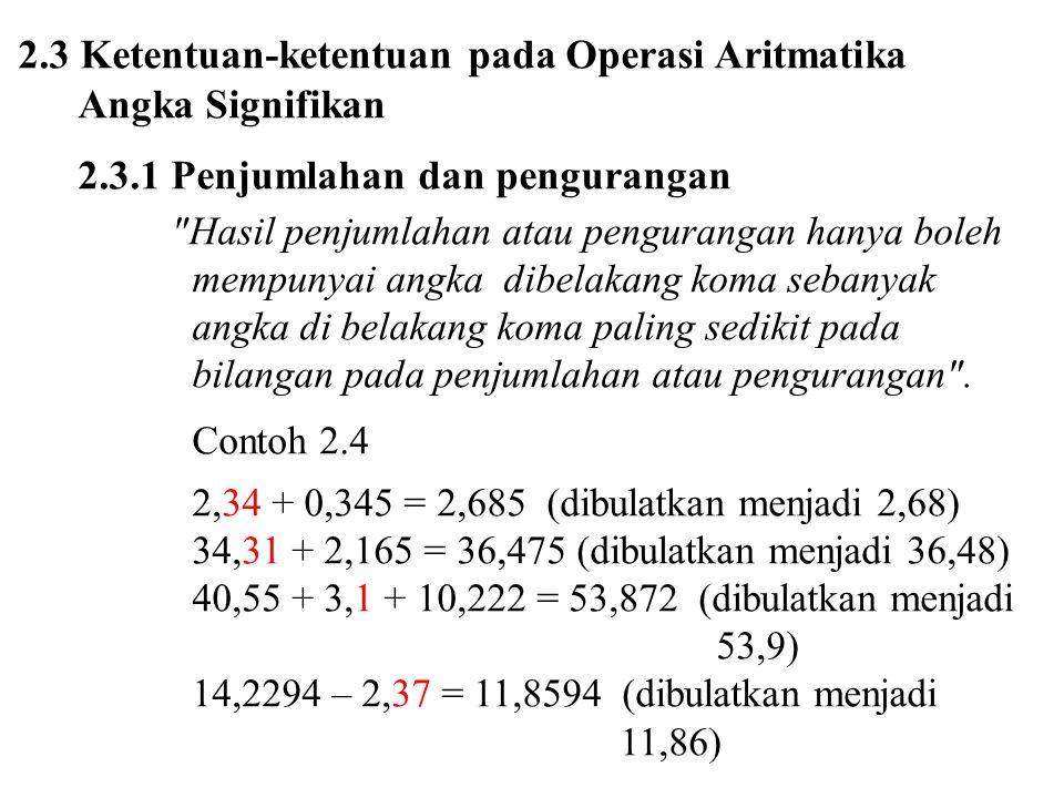2.3 Ketentuan-ketentuan pada Operasi Aritmatika Angka Signifikan
