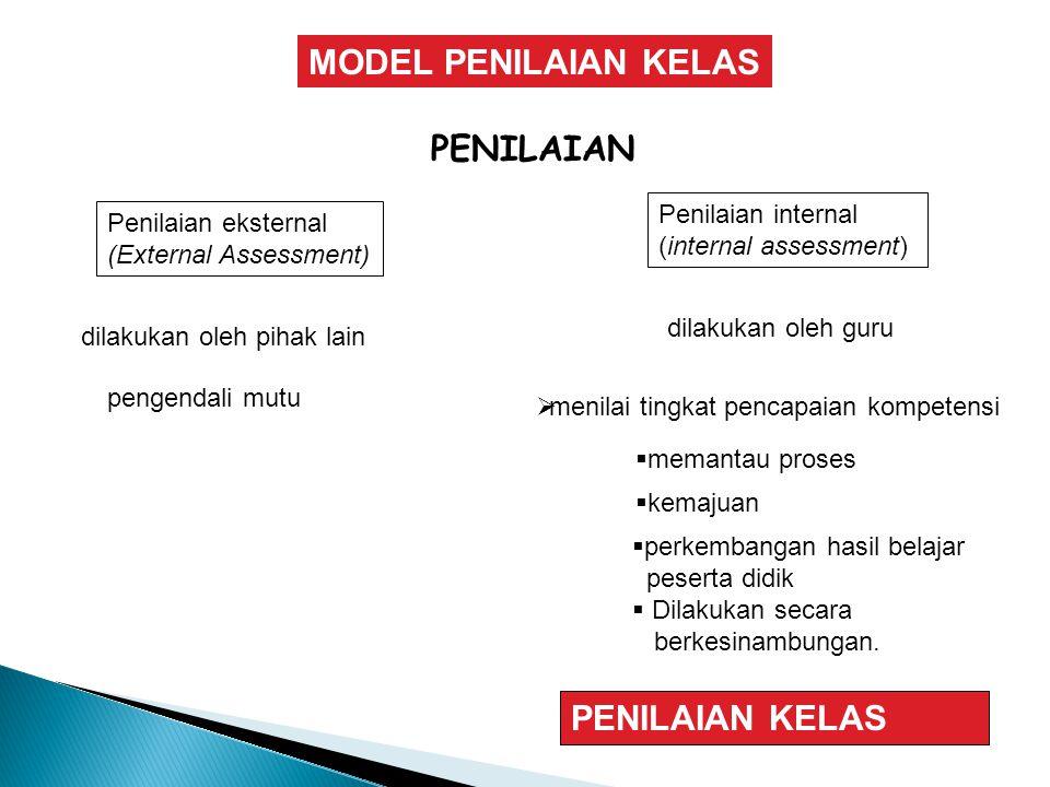 MODEL PENILAIAN KELAS PENILAIAN PENILAIAN KELAS Penilaian internal