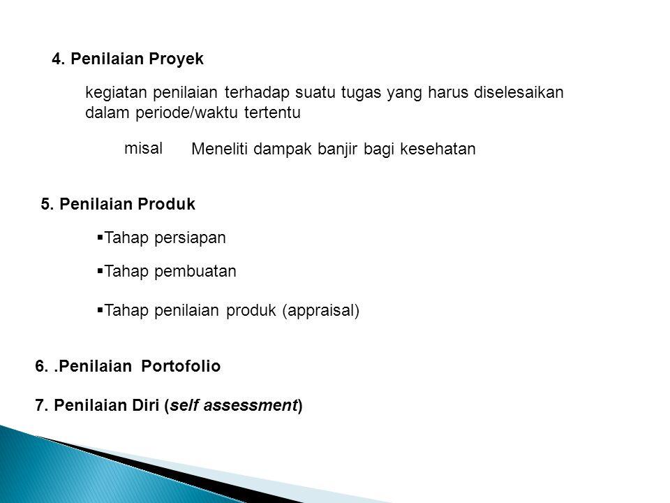 4. Penilaian Proyek kegiatan penilaian terhadap suatu tugas yang harus diselesaikan dalam periode/waktu tertentu.