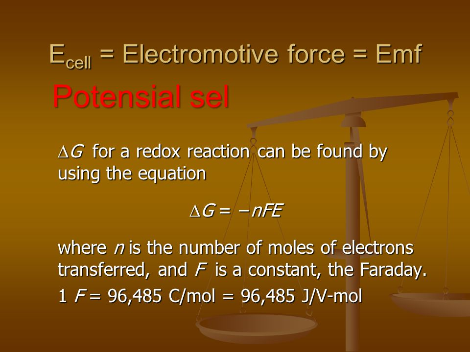Ecell = Electromotive force = Emf