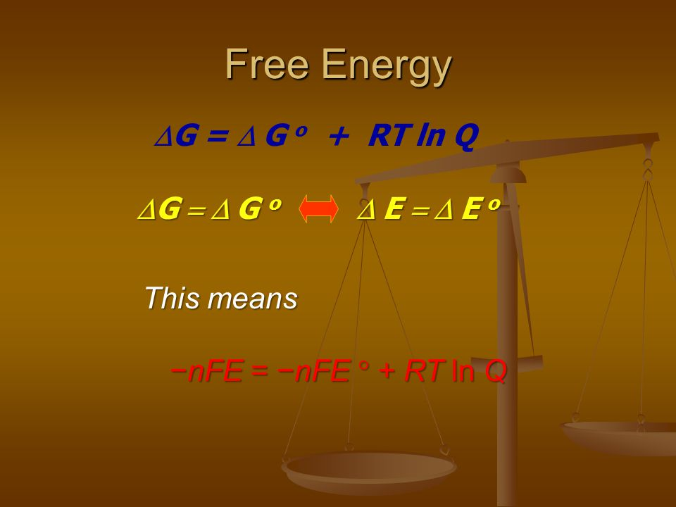 Free Energy DG = D G o + RT ln Q DG = D G o D E = D E o This means