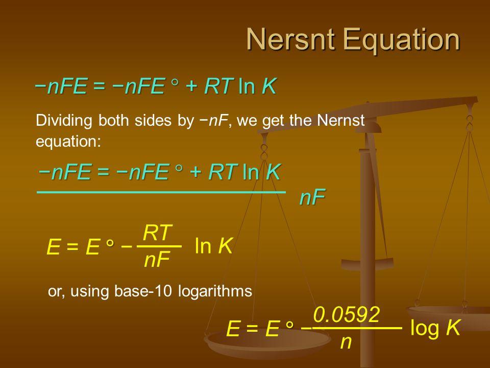 Nersnt Equation −nFE = −nFE  + RT ln K