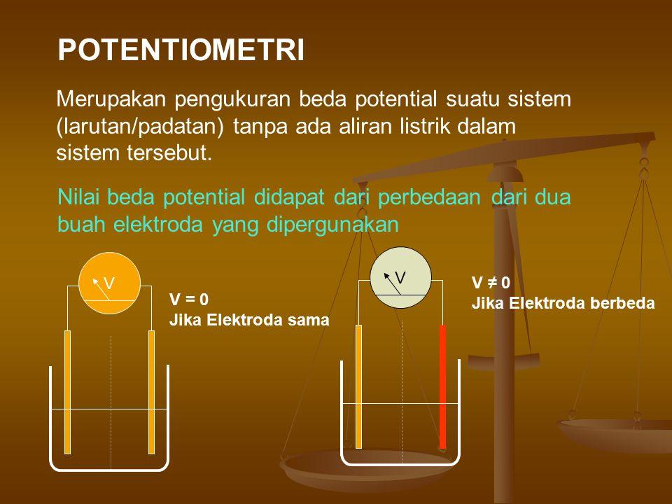 POTENTIOMETRI Merupakan pengukuran beda potential suatu sistem (larutan/padatan) tanpa ada aliran listrik dalam sistem tersebut.
