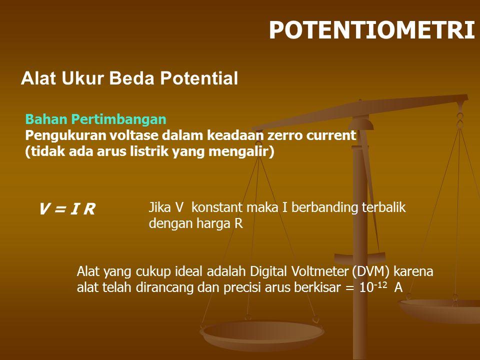 POTENTIOMETRI Alat Ukur Beda Potential V = I R Bahan Pertimbangan