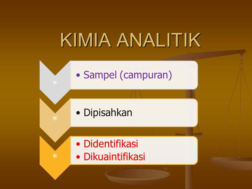 KIMIA ANALITIK * Sampel (campuran) Dipisahkan Didentifikasi