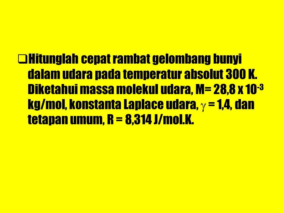 Hitunglah cepat rambat gelombang bunyi dalam udara pada temperatur absolut 300 K.