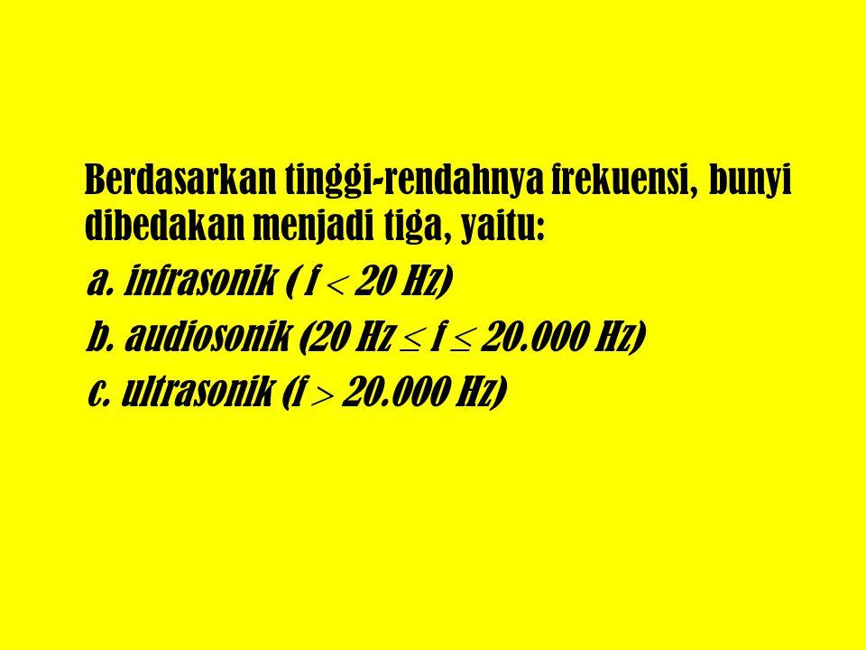 Berdasarkan tinggi-rendahnya frekuensi, bunyi dibedakan menjadi tiga, yaitu: