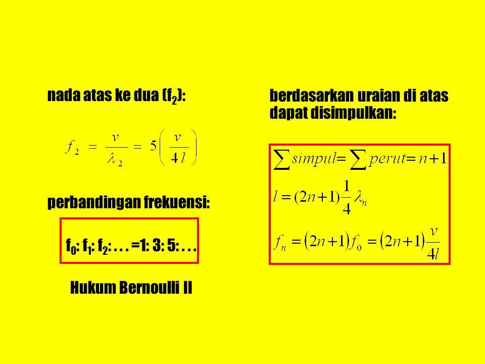 nada atas ke dua (f2): perbandingan frekuensi: f0: f1: f2: . . . =1: 3: 5: . . . Hukum Bernoulli II.