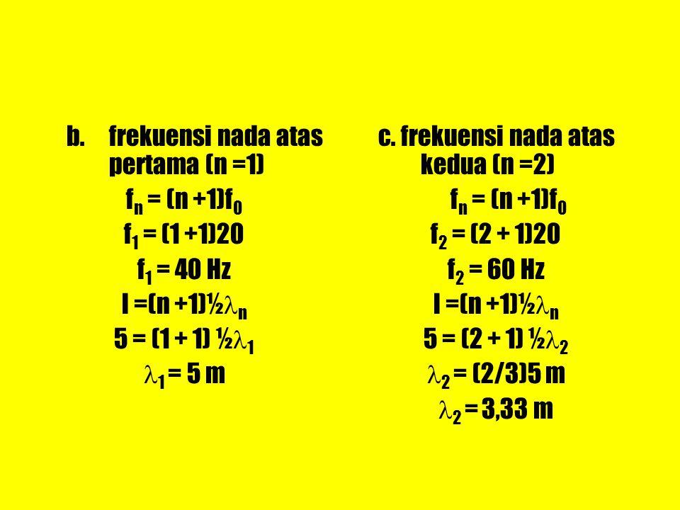 b. frekuensi nada atas pertama (n =1)