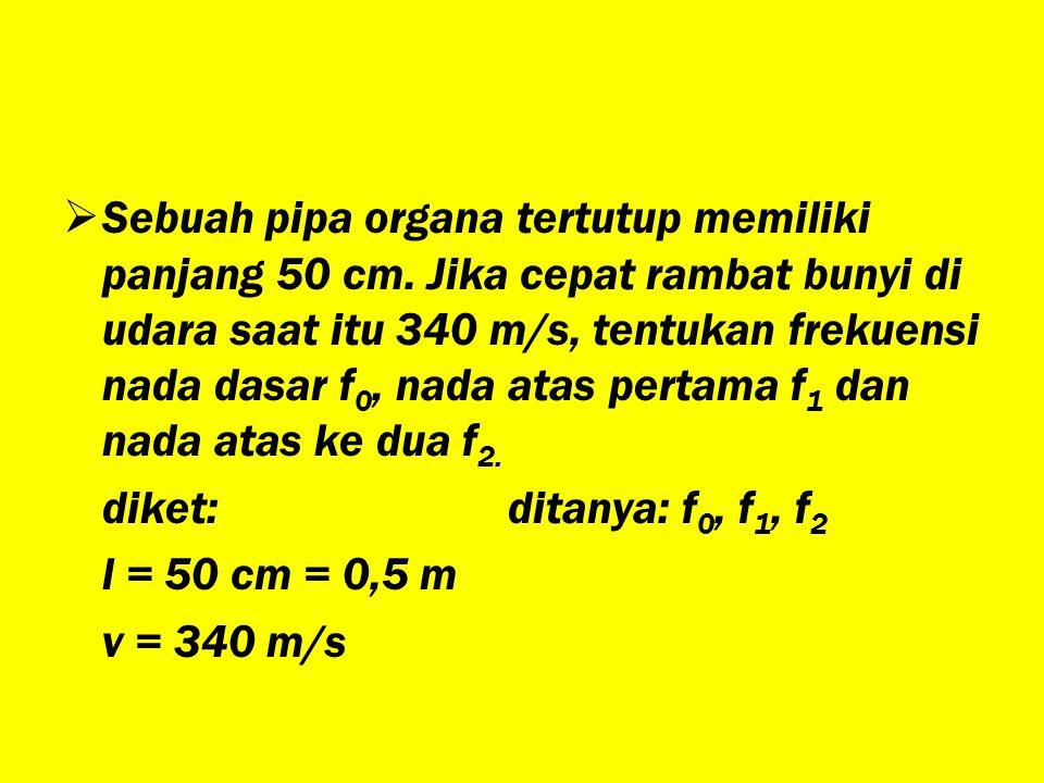 Sebuah pipa organa tertutup memiliki panjang 50 cm