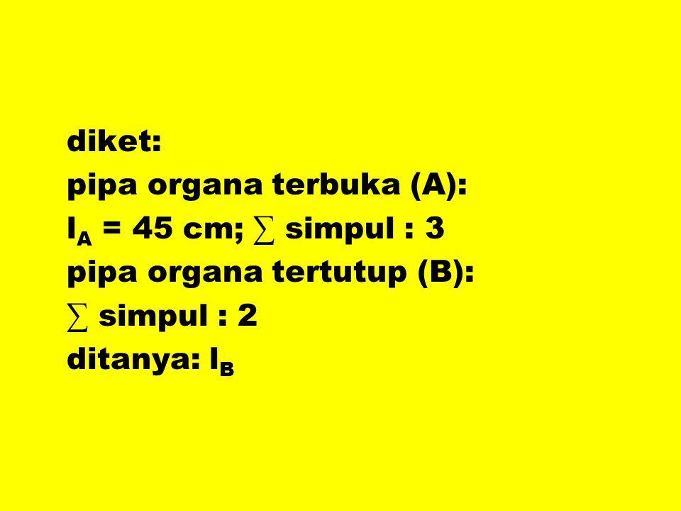 diket: pipa organa terbuka (A): lA = 45 cm; ∑ simpul : 3. pipa organa tertutup (B): ∑ simpul : 2.