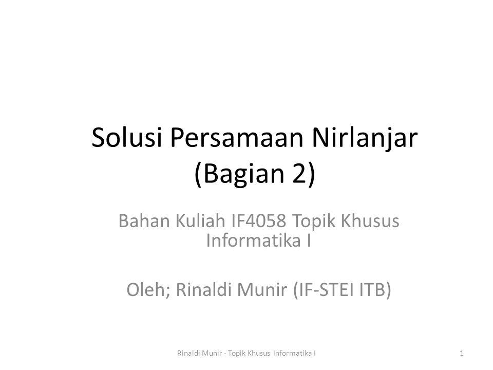 Solusi Persamaan Nirlanjar (Bagian 2)