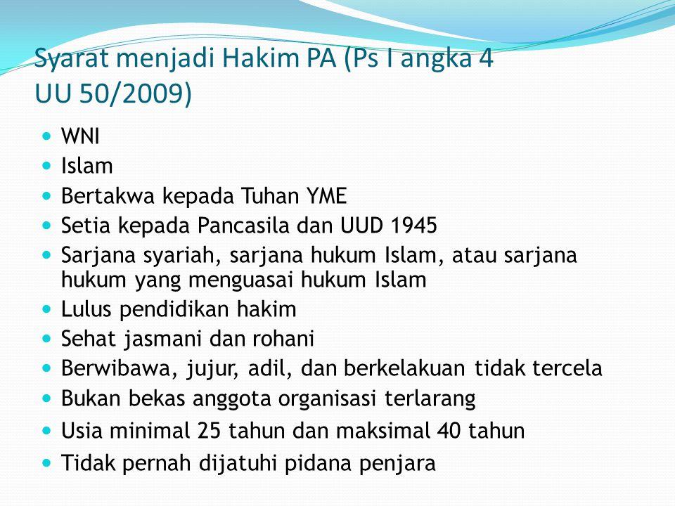 Syarat menjadi Hakim PA (Ps I angka 4 UU 50/2009)
