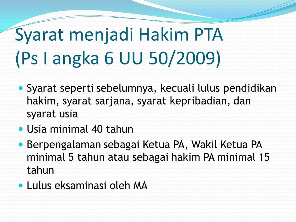 Syarat menjadi Hakim PTA (Ps I angka 6 UU 50/2009)