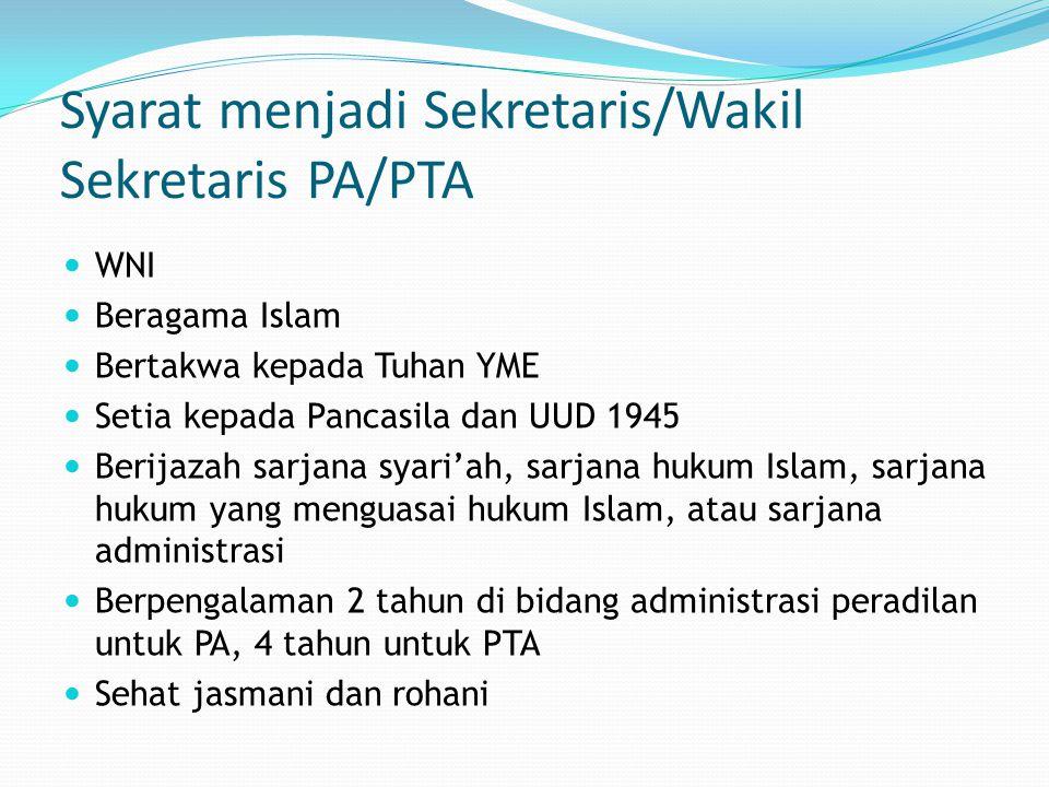 Syarat menjadi Sekretaris/Wakil Sekretaris PA/PTA