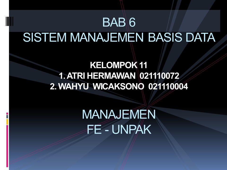 BAB 6 SISTEM MANAJEMEN BASIS DATA KELOMPOK 11 1